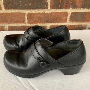 Dansko black leather slip on shoes